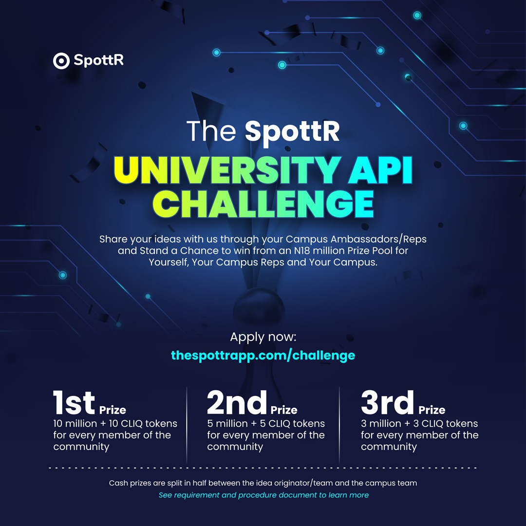 SpottR APP Activates 36 Tertiary Institutions with its N18 Million Prize CAMPUS OPEN API CHALLENGE